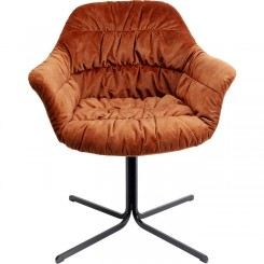 Fauteuil pivotant tissu velours orange COLMAR