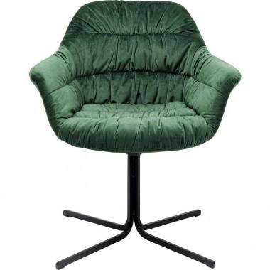 Fauteuil pivotant tissu velours vert COLMAR