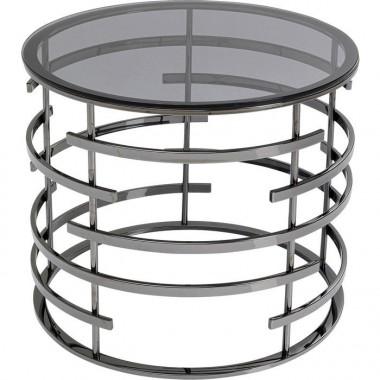 Table d'appoint design ronde 60 cm verre et silver JUPITER