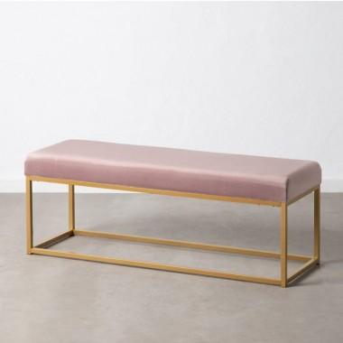 Banc velours tissu rose et métal doré 120 cm HISENJI