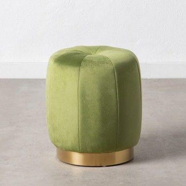 Pouf tissu velours vert socle doré SOON