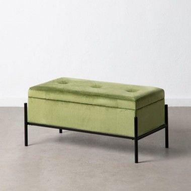 Banquette capitonnée malle tissu velours vert 83 cm MOLUTY