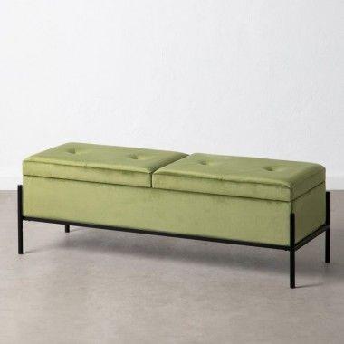 Banquette capitonnée malle tissu velours vert 123 cm MOLUTY