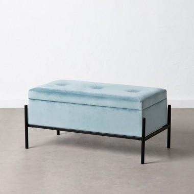 Banquette capitonnée malle tissu velours bleu 83 cm MOLUTY
