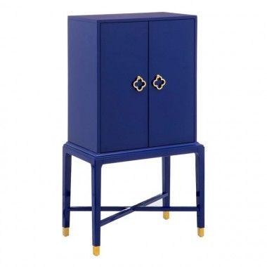 Armoire bois de sapin bleu 2 portes CABINET