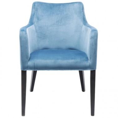 Chaise textile velours bleu pétrole bois noir MODE