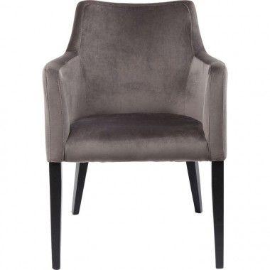 Chaise textile velours gris bois noir MODE