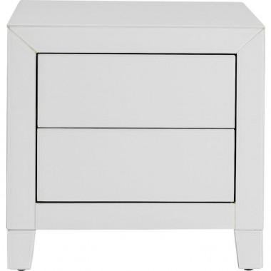 Table de chevet metal blanc 2 tiroirs LUXURY