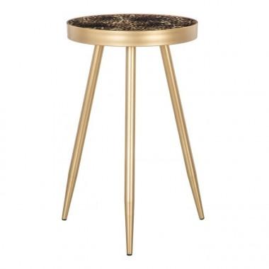 Table d'appoint motifs léopard métal doré 37cm FAUNA