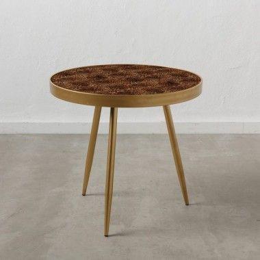 Table d'appoint motifs léopard métal doré 60cm FAUNA