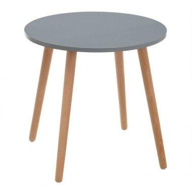 Table d'appoint ronde gris naturel bois de hêtre 50cm TROLLYS