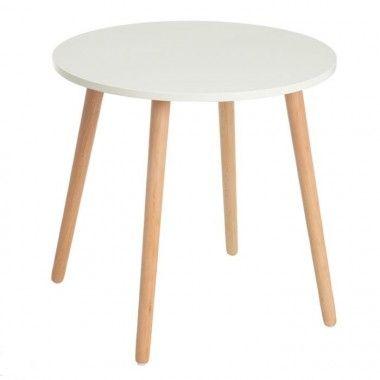 Table d'appoint ronde blanc naturel bois de hêtre 50cm TROLLYS