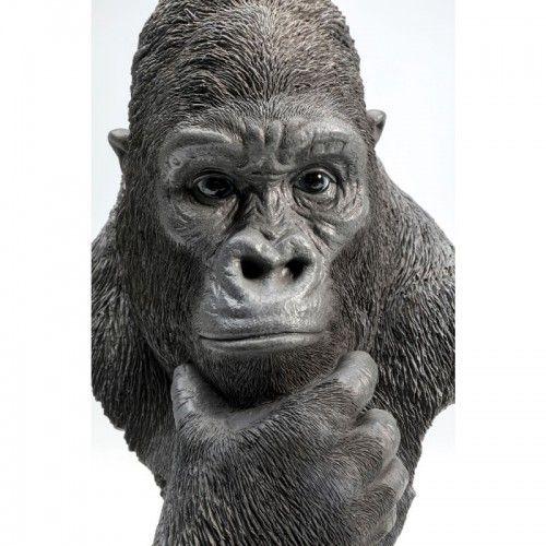 Statue tête de gorille pensant noir GORILLA