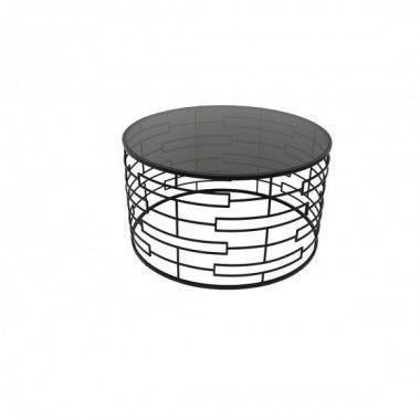 Table basse ronde motif lignes rectangles verre et noir LUNA