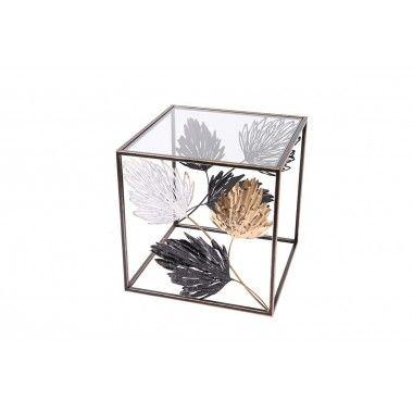 Bout de canapé feuillage d'automne mouvement 3D noir or blanc SEASON