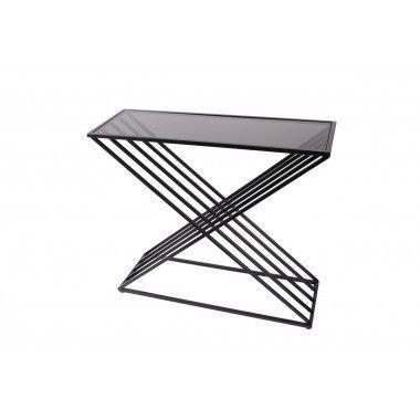 Console filaire en triangle métal noir verre trempé ROMWE