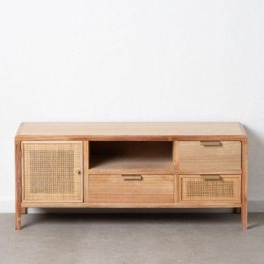 Meuble de télévision bois rotin 3 tiroirs 1 porte 1 compartiment ASTA