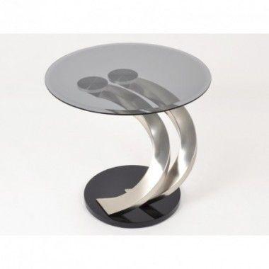 Bout de canapé plateau en verre et métal arrondi 61 cm HAILEY