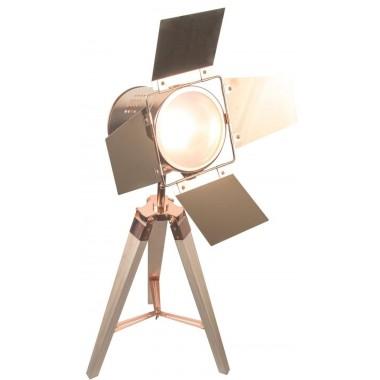 Lampe projecteur trépied Beige et cuivre NEOLY
