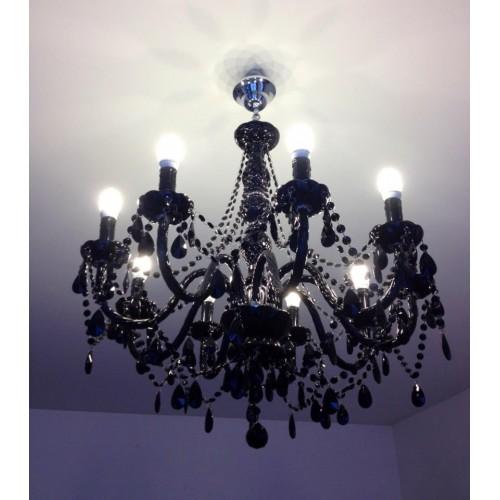 achetez votre lustre gioiello cristal 9 branches noir pas cher sur. Black Bedroom Furniture Sets. Home Design Ideas