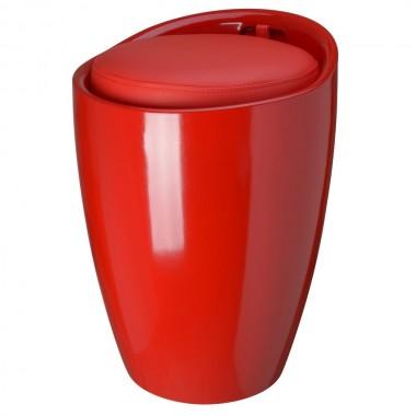 Tabouret pouf POP rouge coussin rouge