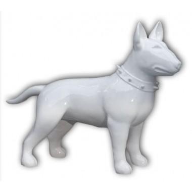 Statue bull terrier blanc laqué
