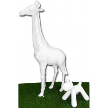 Statue Girafe blanche laquée