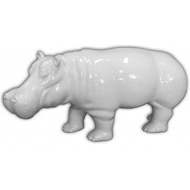 Hippopotame blanc en résine