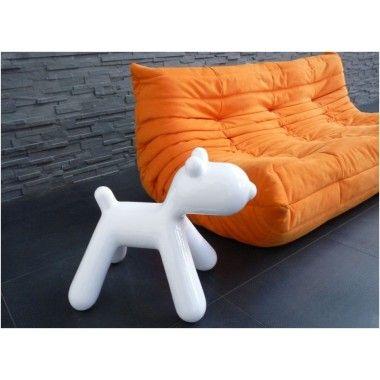 Statue chien design blanc laqué