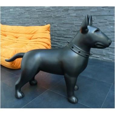 Statue Bull Terrier noir mat