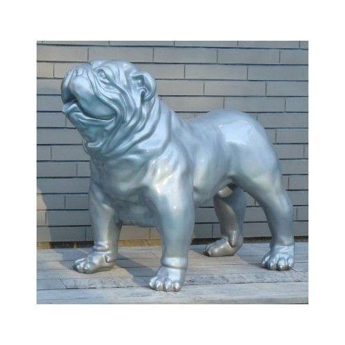 Statue Bouledogue Anglais gris argent brillant