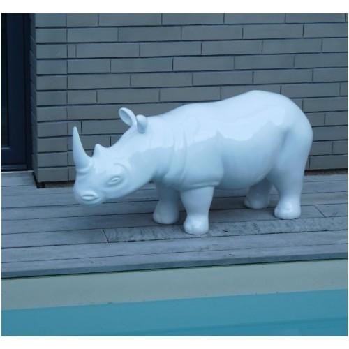 Statue Rhinocéros blanc laqué PM