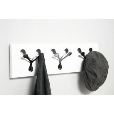 Porte manteau RENO mural blanc x 3