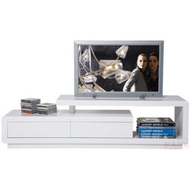 Meuble TV blanc loft 2 tiroirs