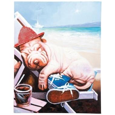 Tableau Peinture à l'huile Sharpei en vacances 60 x 90