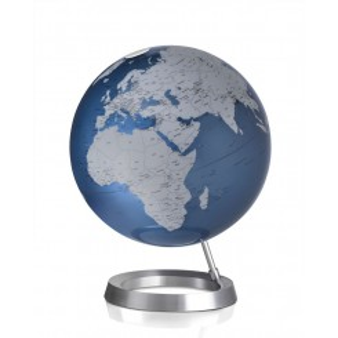 Globe terrestre design bleu argent sur socle alu