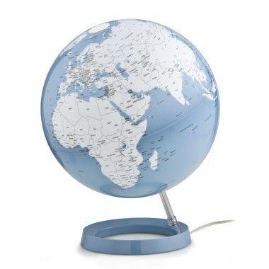 Globe terrestre lumineux design bleu blanc sur socle bleu