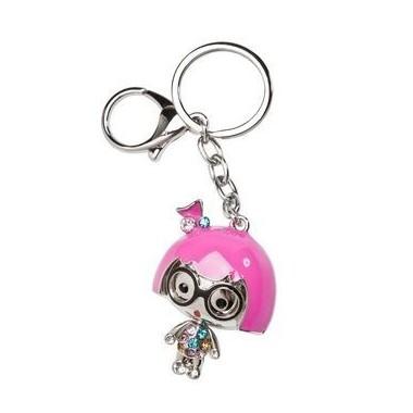 Porte clés fille avec des lunettes strass