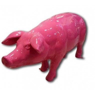 Statue cochon rose grandeur nature