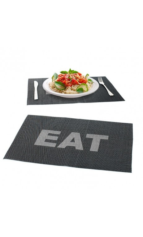 LOT DE 2 SET DE TABLE EAT NOIR BALVI
