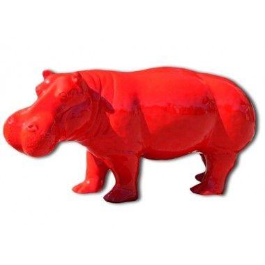 Statue Hippopotame rouge grand modèle