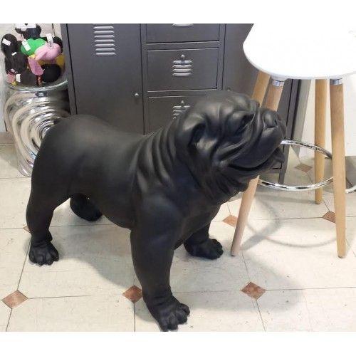 Statue bouledogue Anglais noir mat