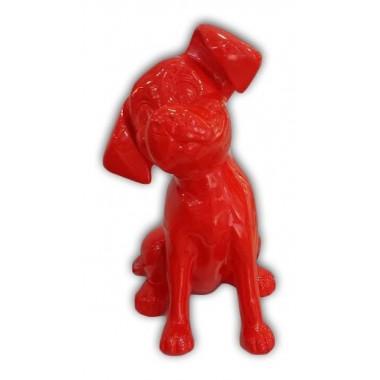 Statue chien dalmatien rouge laqué