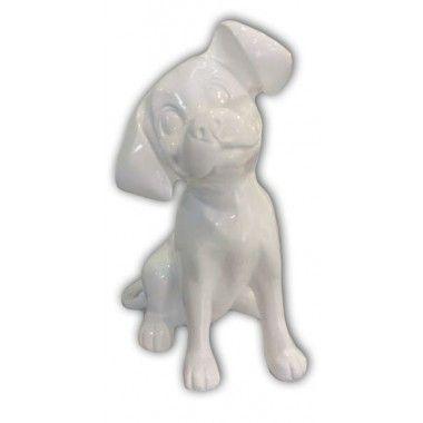 Statue chien dalmatien blanc brillant