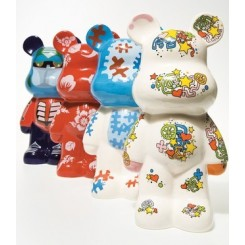 ASSORTIMENT DE 4 TIRELIRES ART TOYS FUNKY BEARS KARE DESIGN