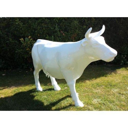 Vache décorative grandeur nature blanche en résine