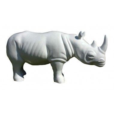 Statue rhinocéros blanc grand modèle
