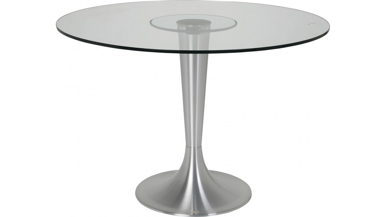 Table ronde 110 - Table de cuisine ronde en verre pied central ...