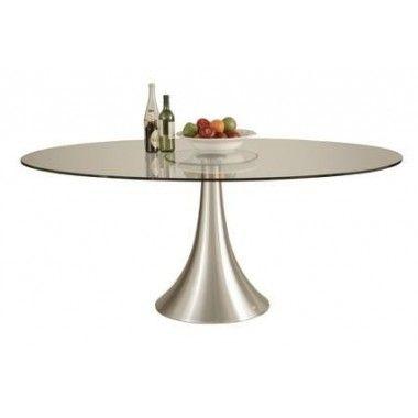 Table ovale en verre Loft Heaven alu 180 x 120 cm