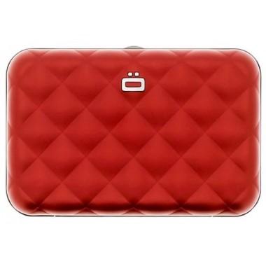 Porte cartes en aluminium Ogon designs rouge avec fermoir métalique